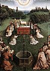 Jan van Eyck The Ghent Altarpiece Adoration of the Lamb [detail centre] painting